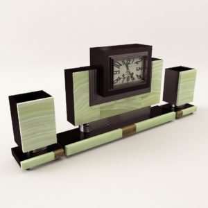 3d model Fireplace clock with vases – Art Deco 1920