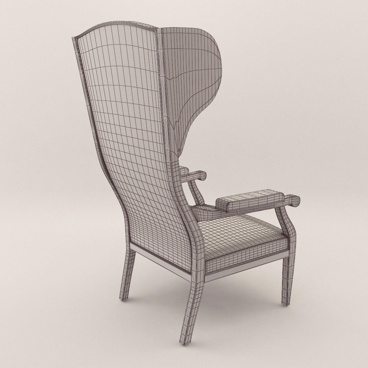 Biedermeier Wing Armchair Georg Britsch 3d Realistic