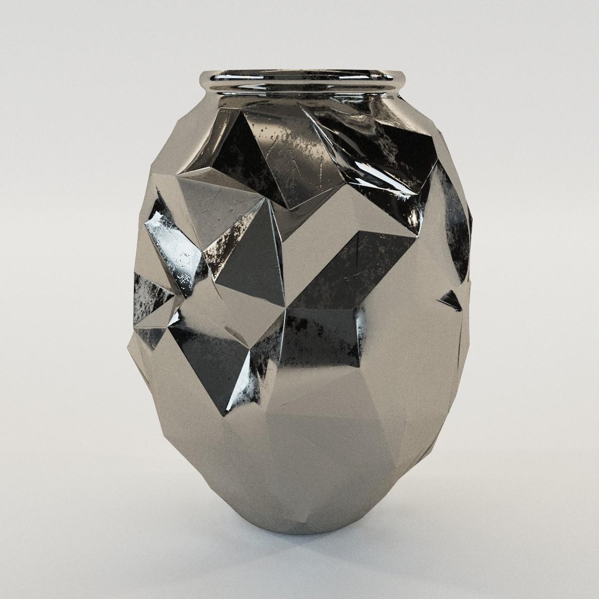 Art Deco Cubist Vase 3d Realistic Model Artium3d