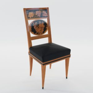 3d model Biedermeier chair with black ink painting – South Germany 1820