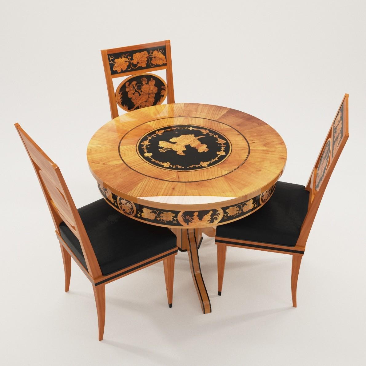 biedermeier salon table 3d realistic model artium3d. Black Bedroom Furniture Sets. Home Design Ideas