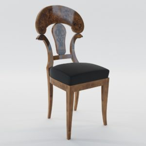 3d Model Biedermeier Chair With Black Ink Painting – Austria, Vienna 1820