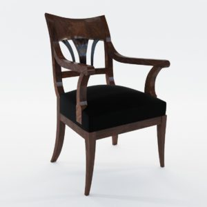 3d model Biedermeier armchair with black ink painting – South Germany 1820