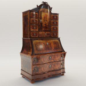 3d model Baroque bureau cabinet – Germany, 18. century