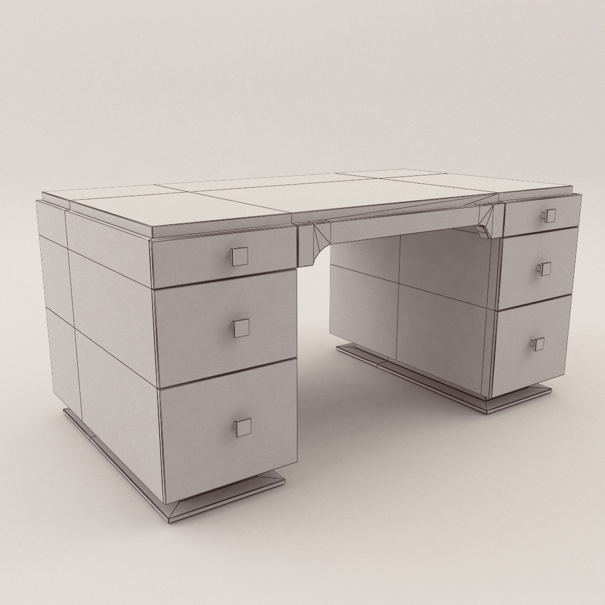 Art Deco Writing Desk 3d Realistic Model Artium3d