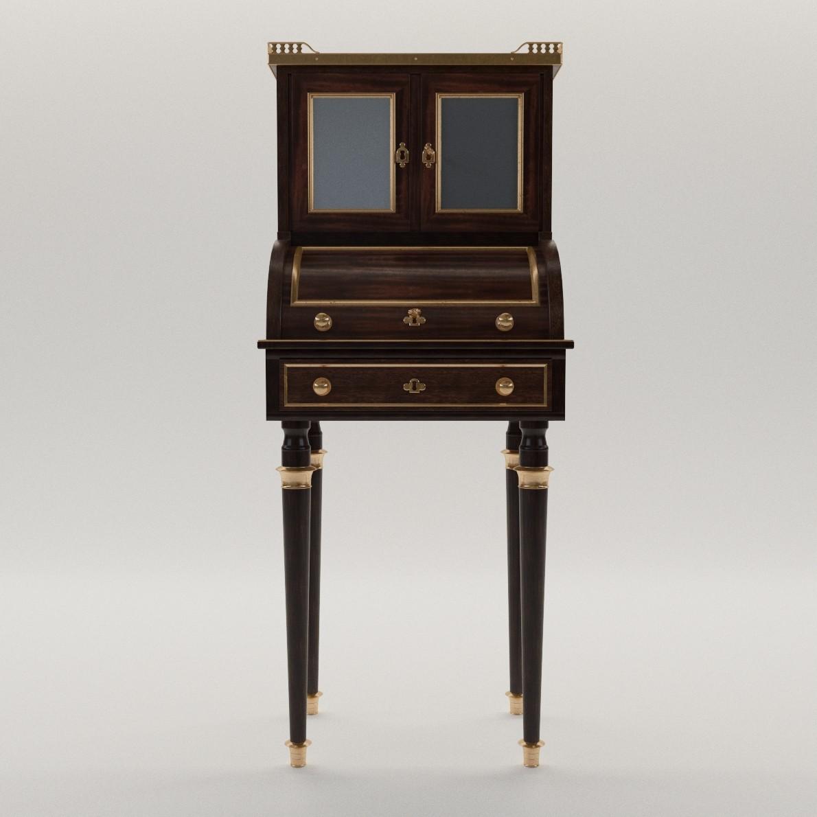 neoclassical cylinder bureau 3d realistic model artium3d. Black Bedroom Furniture Sets. Home Design Ideas