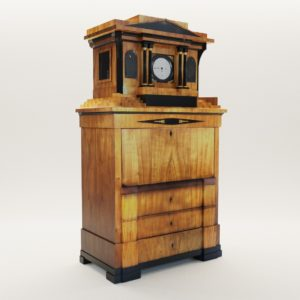 3d model Biedermeier secretaire with musical clock from Fridrich Knauth Neisse – Germany around 1810