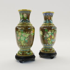 3d model Paar cloisonné enamel vases, Chine about 1900