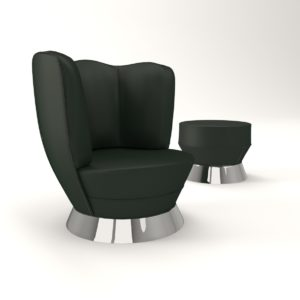 3d Model Armchair With Tabouret - Art Deco 1930