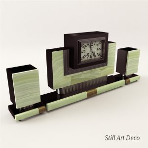 3d Model Fireplace Clock With Vases - Art Deco 1920