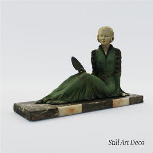 3d Model Art Deco Sculpture Of Lady With Fan – France 1920