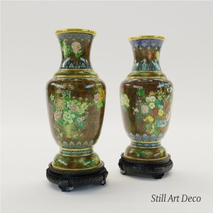 3d Model Paar Cloisonné Enamel Vases - Chine About 1900