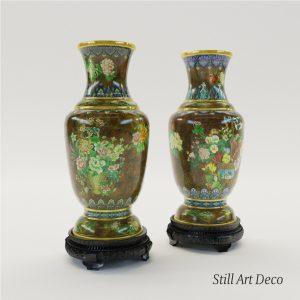 3d Model Paar Cloisonné Enamel Vases - Chine About 1900