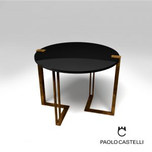3d Model Black&Gold Table Round From Paolo Castelli - Design By Luca Scacchetti