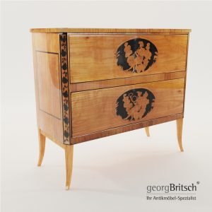 3d Model Biedermeier Commode With Black Ink Painting - South Germany 1820 - Georg Britsch