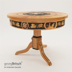 3d Model Biedermeier Salon Table With Black Ink Painting - South Germany 1820 - Georg Britsch