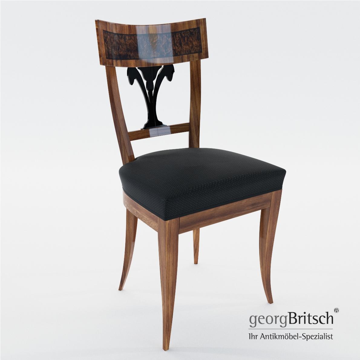 Biedermeier Chair With Black Lacker Ornament Georg