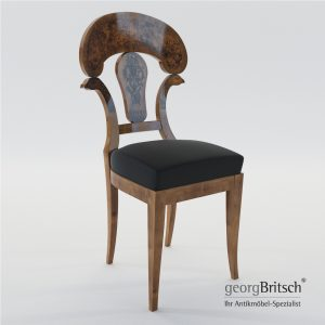 3d Model Biedermeier Chair With Black Ink Painting - Austria, Vienna 1820 - Georg Britsch