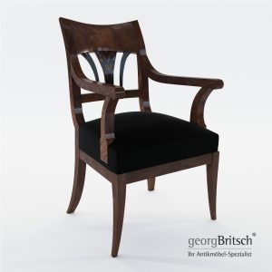 3d Model Biedermeier Armchair With Black Ink Painting - South Germany 1820 - Georg Britsch