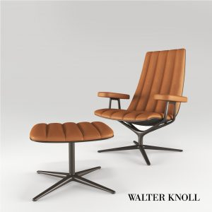 3d Model Armchair And Tabouret Healey Lounge From Walter Knoll - Design By Pearson Lloyd