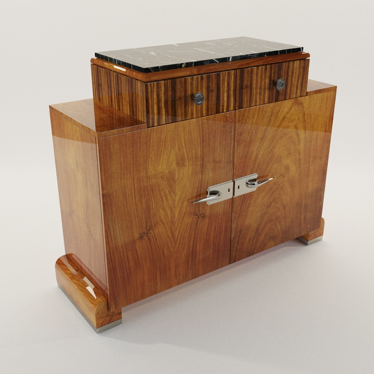 Art deco sideboard 3d realistic model artium3d for Sideboard 3d