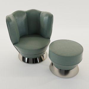 3d model armchair with tabouret – Art Deco 1930